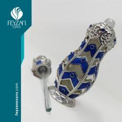 Mavi Gümüş İşlemeli Metal Esans Şişesi 13 cc